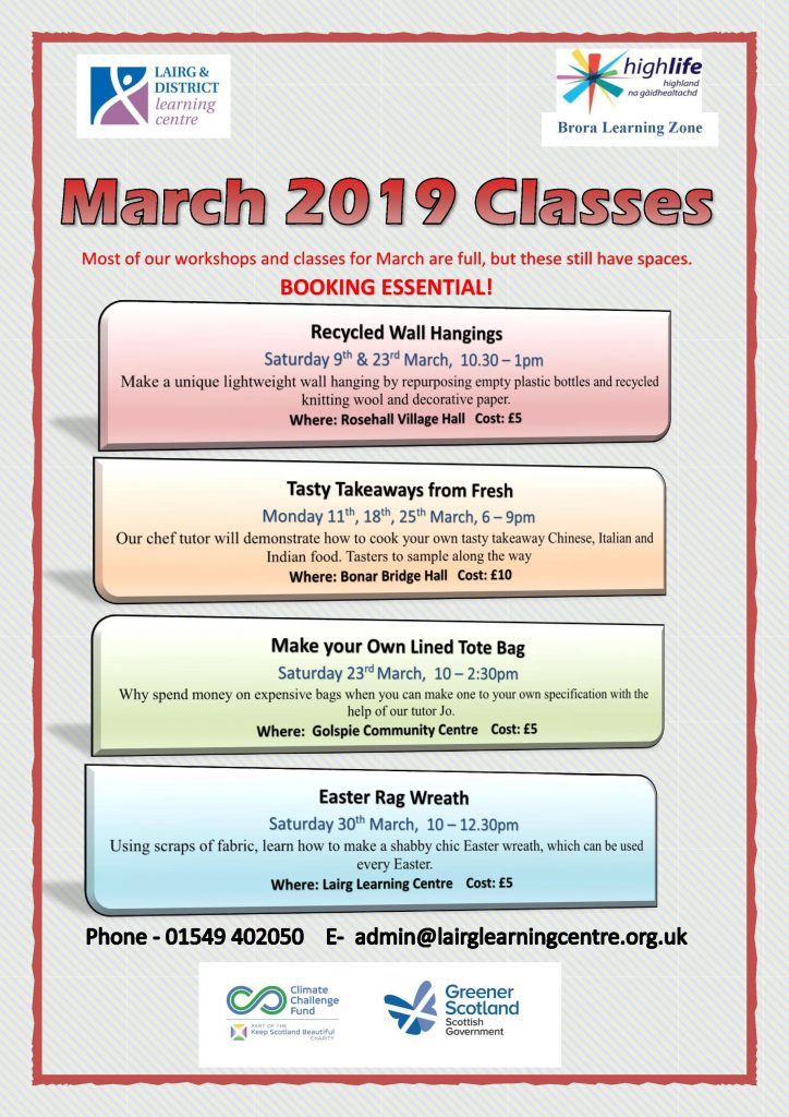 March 2019 Classes